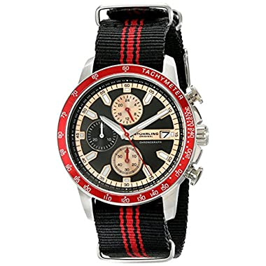 Stuhrling Original Men's 678.03 Monaco Quartz Chronograph Tachymeter Black and Red Canvas Strap Watch