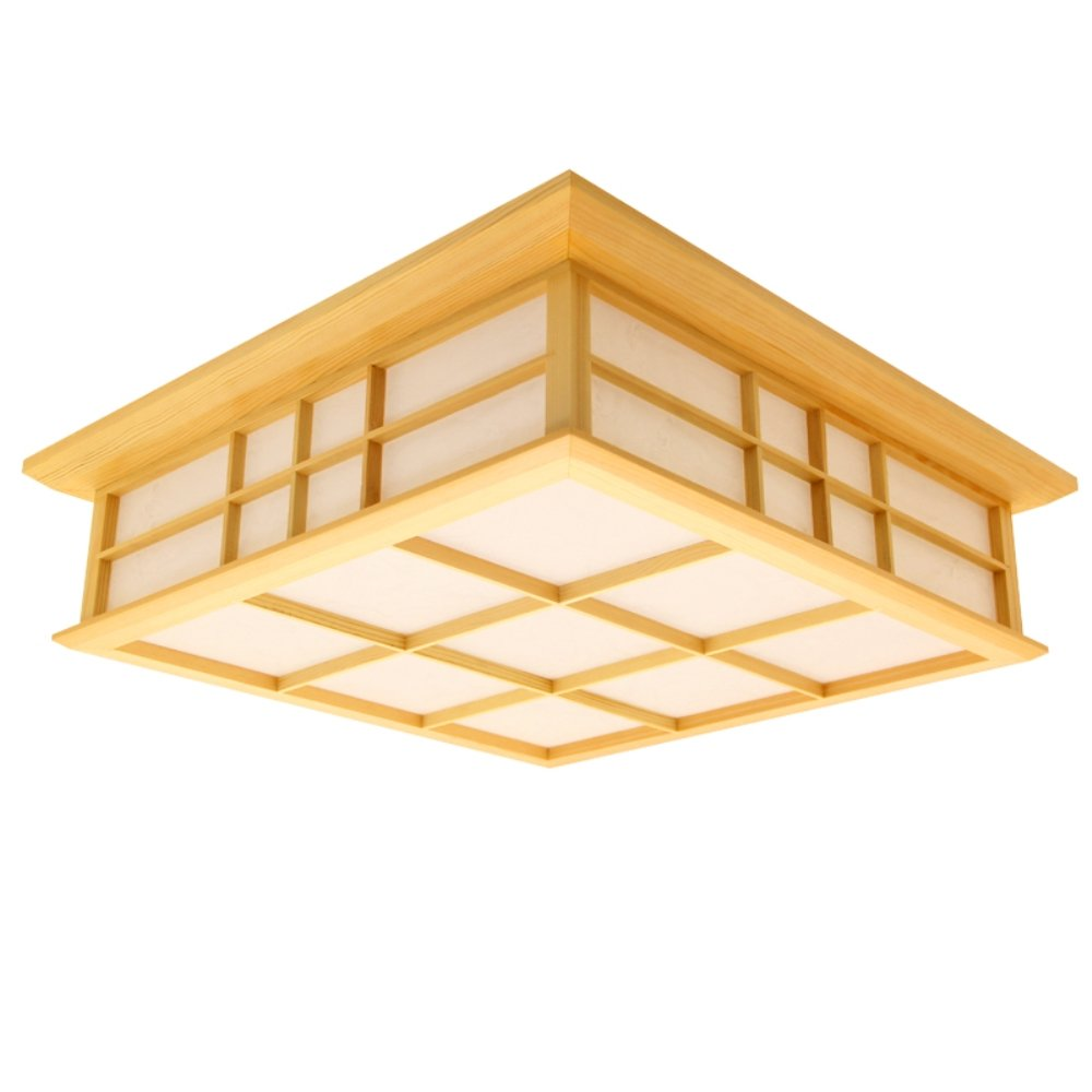 KAIRRY Deckenleuchten Deckenlampe LED Lamp Massivholz Tatami Lampen Japanische Wohnzimmer Lampen Schlafzimmer Balkon Protokolle Deckenleuchte (Farbe   Warmes Licht, Größe   35CM)
