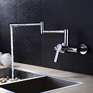 LightInTheBox Contemporary Pot Filler Ceramic Valve Zinc Alloy Chrome Wall Mounted Single Handle Two Holes with Chrome Kitchen faucet