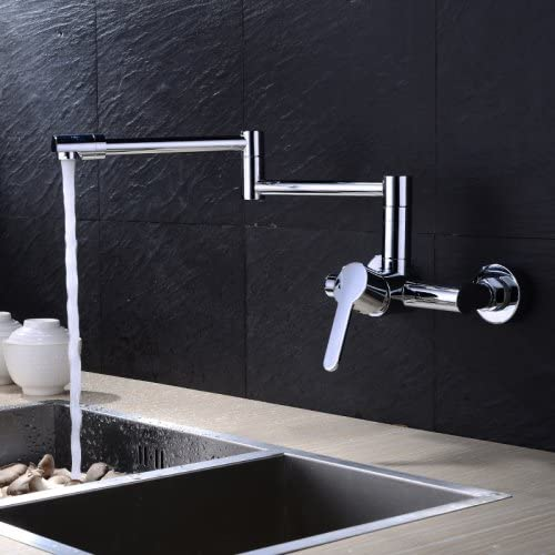 Contemporary Pot Filler Ceramic Valve Zinc Alloy Chrome Wall Mounted Single Handle Two Holes with Chrome Kitchen faucet