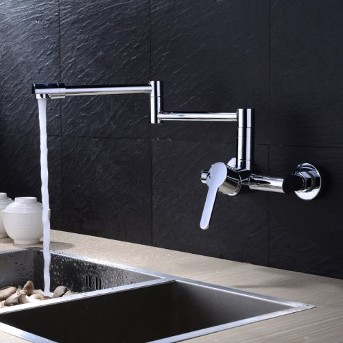 LightInTheBox Contemporary Pot Filler Ceramic Valve Zinc Alloy Chrome Wall Mounted Single Handle Two Holes with Chrome Kitchen faucet Pot Filler Valve