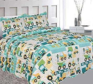 Elegant Home Green Beige Yellow Teal Trucks Tractors Cars Construction Site Design 3 Piece Coverlet Bedspread Quilt Kids Teens Boys Full Size # Car Full Size