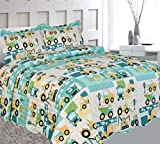 Elegant Home Green Beige Yellow Teal Trucks Tractors Cars Construction Site Design 3 Piece Coverlet Bedspread Quilt Kids Teens Boys Full Size # Car (Full Size)