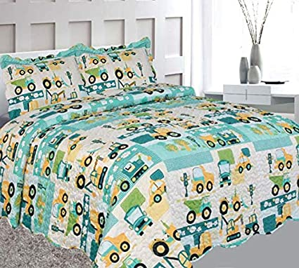 Elegant Home Green Beige Yellow Teal Trucks Tractors Cars Construction Site Design 3 Piece Coverlet Bedspread Quilt Kids Teens Boys Full Size # Car (Full Size) Elegant Home Decor