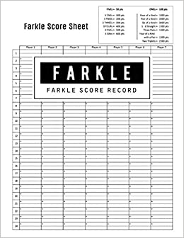 Farkle Score Record Game Keeper Book Scoresheet Card Writing Note Room To Your Scores While Playing