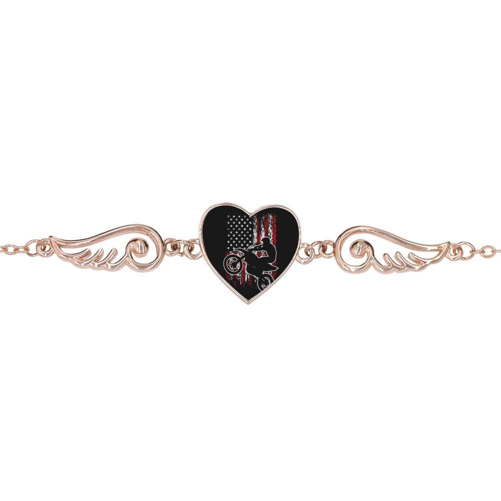 American Flag Design Heart Lucky Bracelet Jewelry BlingDi Fashion Motocross USA Biker