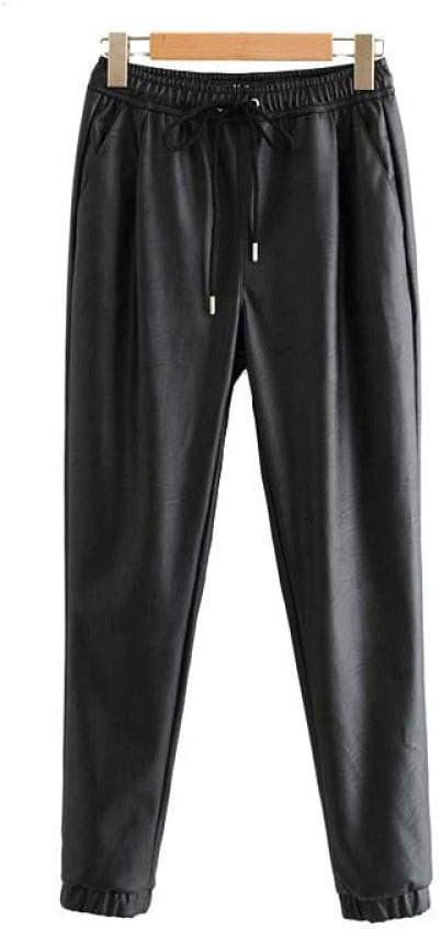 GUOYANGPAI Pantalones de Cuero Pantalones de Cuero Vintage Mujer Otoño Moda Cintura elástica Cordón con Lazo Tobillo Longitud Pantalones Mujeres Pantalones