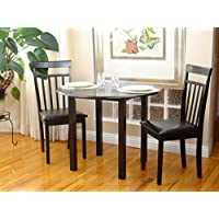 Dining Kitchen Set 3 Pcs Classic Round Table and 2 Solid Wooden Chairs Warm Espresso Black Finish