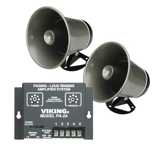- Viking Paging System with Amplifier with 2 Speaker Horns Fully Powered for Use Through Phones for Schools, Warehouses, Offices, Autoshops, etc.
