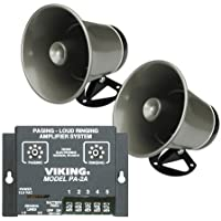 Viking Paging System with Amplifier with 2 Speaker Horns Fully Powered for Use through Phones for Schools, Warehouses, Offices, Autoshops, etc.