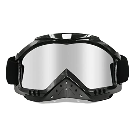 Review Dmeixs Motorcycle Goggles, Dirt Bike Goggles Grip For Helmet, Anti UV Windproof Dustproof Anti Fog Glasses for ATV Off Road Racing with Cool Look Headwear, Silver Lens, 2 in 1