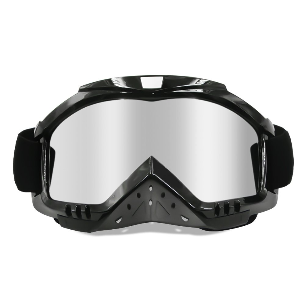 Dmeixs Motorcycle Goggles, Dirt Bike Goggles Grip For Helmet, Anti UV Windproof Dustproof Anti Fog Glasses for ATV Off Road Racing with Cool Look Headwear, Silver Lens, 2 in 1 by Dmeixs (Image #1)