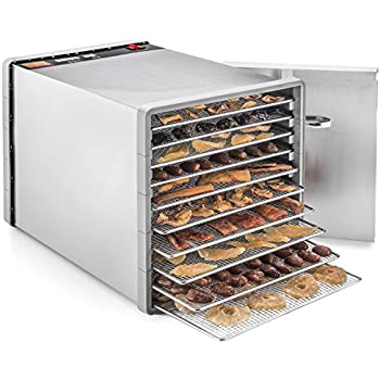 "STX International STX-DEH-600W-SST-CB Stainless Steel Dehydra 10 Tray Food and Jerky Dehydrator with 40 Hour Timer PLUS a FREE All New ""Dehydrating Made Easy"" Cookbook on CD with over 270 Recipes!"