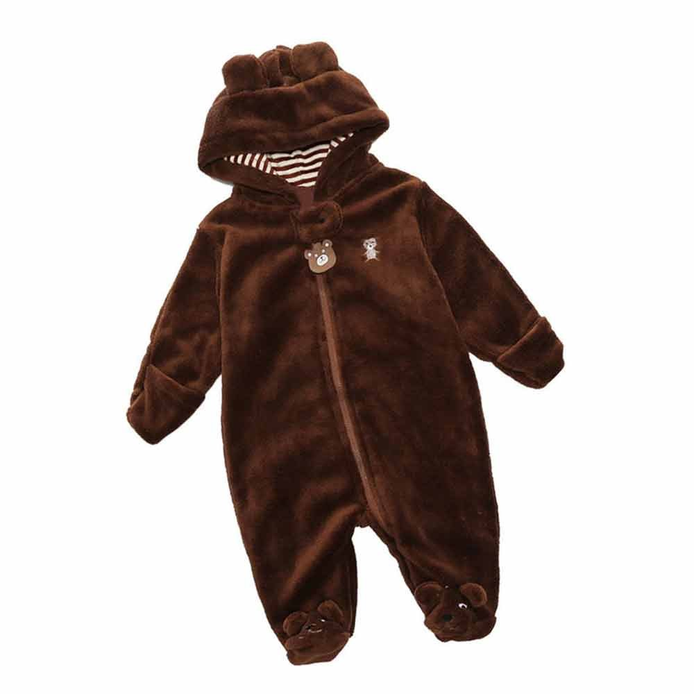 Newborn Unisex Baby Hooded Animal Romper Jumpsuit Footie Outfit Snowsuit Mary ye