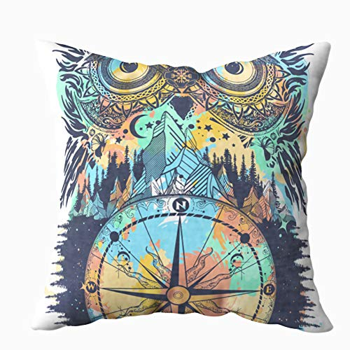 Asdecmoly Decorative Pillowcase Owl Compass Tattoo Tshirt Symbol Meditat Cover for Kids Throw Cushion Square 16X16 Inchs Home Sofa Bed Travel Gift