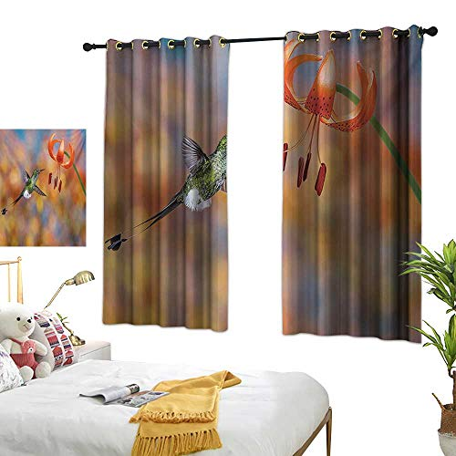 Bedroom Curtains W63 x L72 Hummingbird,The Booted Racket Tail Feeding Nectar from Tiger Lily Blur Background Photo,Orange Green Blackout Window Curtains Living Room Dining Room Kids Youth Room Wi ()