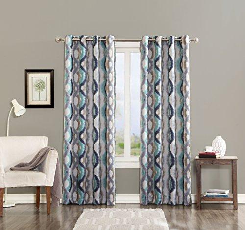 Sun Zero Burbank Watercolor Energy Efficient Curtain Panel, 54″ x 63″, Linen Beige