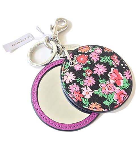 Coach Pansy Flower Disc Mirror Key Fob Key Chain F58500