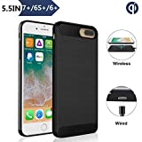 Qi Wireless Charger Receiver Case, ANGELIOX Wireless Charging Compatible iPhone 7 Plus / 6s Plus / 6 Plus(5.5inch -Plus Size) [3rd Generation] Fast Wireless Charging Shockproof Protective Cover