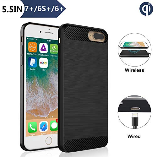 Qi Wireless Charger Receiver Case, ANGELIOX Wireless Charging Compatible iPhone 7 Plus / 6s Plus / 6 Plus(5.5inch -Plus Size) [3rd Generation] Fast Wireless Charging Shockproof Protective Cover (Qi Wireless Charging Case Iphone 6 Plus)