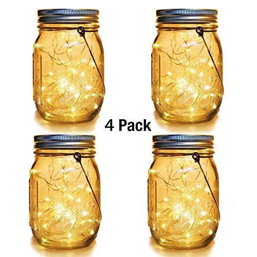 Light Solar Set Hanging (WERTIOO 4 Pack Solar Mason Jars Lights,30 LEDs Hanging Solar Lanterns Garden Decor Outdoor Lights Warm White Table Decor Fairy Lights for Patio Wedding Christmas Party (4 Pack))