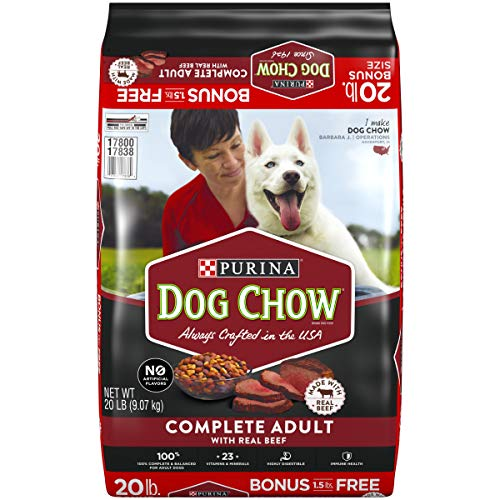 Purina Dog Chow Dry Dog Food, Complete Adult With Real Beef - 20 lb. Bag