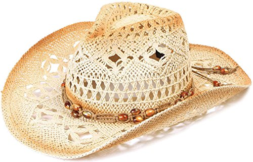 TAUT Straw Hat Cowboy Cowgirl Wide Brim Beach Sun Hats for Kids, Brown Bead