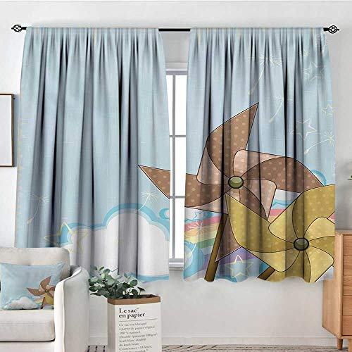 Mozenou Vintage Rainbow Waterproof Window Curtain Fantastic Blue Sky with Clouds Stars Dandelion Seeds and Two Pinwheels Customized Curtains 72