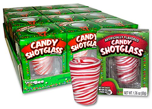 (Edible Candy Shot Glasses Set of 12 Peppermint Flavored - Perfect Stocking Stuffer or Holiday Gift!)