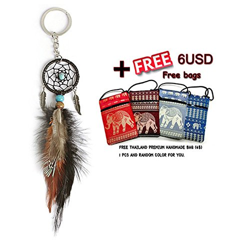 Vintage Enchanted Forest Mini Dreamcatcher Key Ring Handmade Dream Catcher Net With Feather Keychain+Free Thailand Hand Bag (ColorDream+Bag)