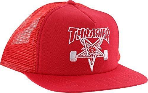 Cap Hat Skate (Thrasher Sk8 Goat Mesh Adjustable Red/White Skate Hat)