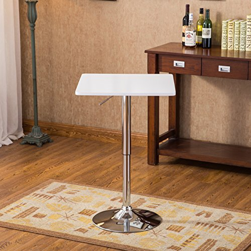 Roundhill Furniture Baxton White Square Top Adjustable Height Wood & Chrome Metal bar Table by Roundhill Furniture