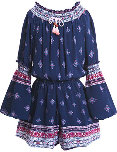 Border Print Tie - Truly Me Big Girls Tassel & Smocking, Bohemian Border Print Crinkle One Piece Romper with Long Sleeve and Lining