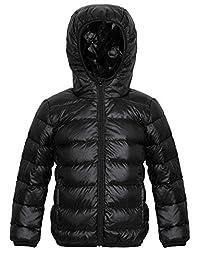 Seeduck Kids Powder Lite Puffer Jacket Packable Down Jackets (10/11=150CM=59Inch, Black)