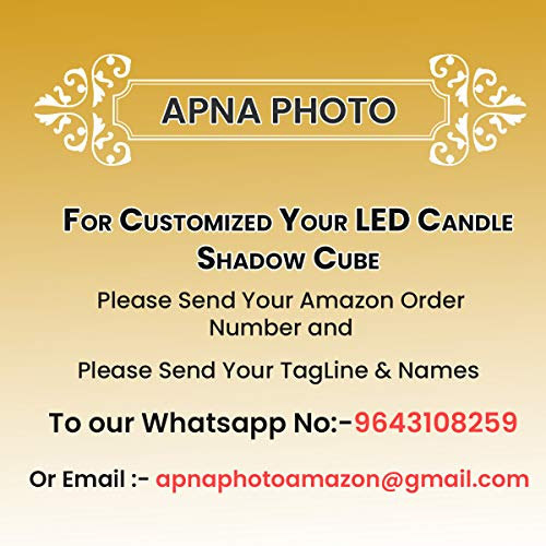 Apna Photo Wooden Personalised Candle Shadow Cube with Name Engraving
