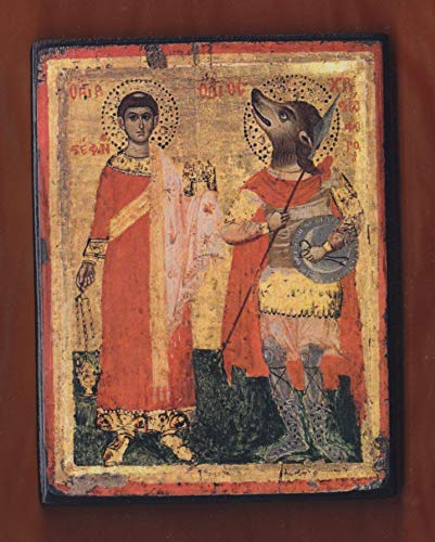Saint-Stephen and Saint-Christopher,17th century icon,Unknown Greek painter, Greek Orthodox Icon.FREE SHIPPING
