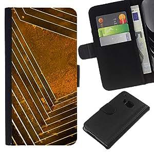 BearCase / Cuero de la tarjeta la carpeta del tirón Smartphone Slots Protección Holder /// HTC One M9 /// Patrón oro amarillo abstracto Limpio