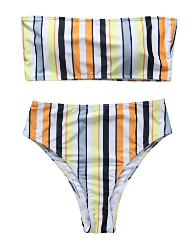 (RUUHEE Women Bandeau High Waisted Stripe Pattern Two Piece Swimsuits Bikini Set (M(US Size 6-8),Yellow))