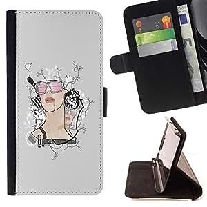 BullDog Case - FOR/Sony Xperia m55w Z3 Compact Mini / - / Retro Girl /- Monedero de cuero de la PU Llevar cubierta de la caja con el ID Credit Card Slots Flip funda de cuer