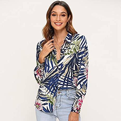 LFMDSY Blusas Mujer Camisa Blusa Vintage Manga Larga Estampada Moda Casual Turn Down Collar Ladies Tunic Tops Plus Size XL Navy: Amazon.es: Deportes y aire libre