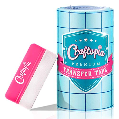 6 x50 FT Clear Transfer Paper Tape Roll w/Blue Alignment Grid   10 Bonus FT   Compatible with Cricut Cameo Self Adhesive Vinyl for Signs Stickers Decals Walls Doors & Windows