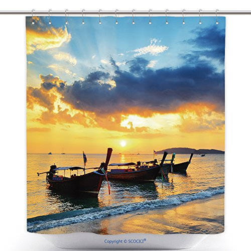 Polyester Shower Curtains Traditional Thai Boats At Sunset Beach Ao Nang Krabi Province 128638358 Polyester Bathroom Shower Curtain Set With Hooks by