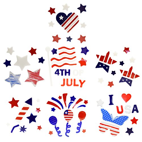 Set of 8 Patriotic Gel Stickers - Multiple Gel Stickers per Pack - 8 Different Styles - Vibrant Red White and Blue Colors- Perfect for Your 4th of July Celebration!