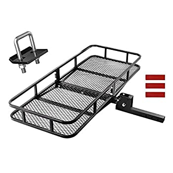 Image of CAR DRESS Hitch Cargo Carrier 47.5'(L) x 60'(W) x 9'(H) Luggage Rack 500 lbs Capacity Fits 2' Receiver with Hitch Tightener Black Cargo Baskets