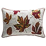 Fall Leaves Multicolor Organic Cotton and Down Lumbar Pillow (Set of 3)