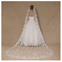 AliceHouse Long Lace Edged 1 Tier White Bridal Veil Cathedral for Wedding MV03