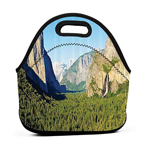 Removable Shoulder Strap Apartment Decor,El Capitan Half Dome and Bridalveil Falls Tourist Attractions Landscape Decoration,Green Blue,engel lunch bag for men (Best Tourist Attractions In Chicago)