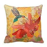 DECORLUTION Pillowcase One Side Decorative Cushion Cover Pillowcase Purple Blue Aqua Hummingbird Birds Red Tropical Throw Pillow (16inchx16inch)