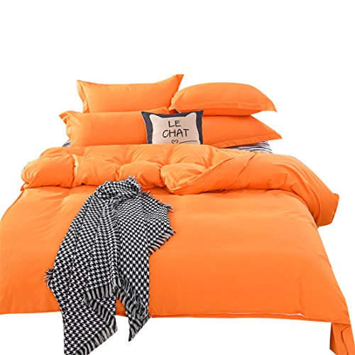 ✿Mose✿1500 Series Sheet Solid Colors Bedding ,Single Twin Full Queen Double King (B, Orange)