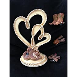 Western Rope Heart Cowboy & Cowgirl Wedding Cake Topper with Decorative Accessories